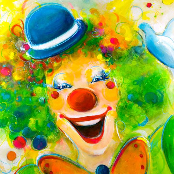 Tableau de clown - Peinture Inspiration POP ART - Lucie LLONG, artiste peintre du mouvement