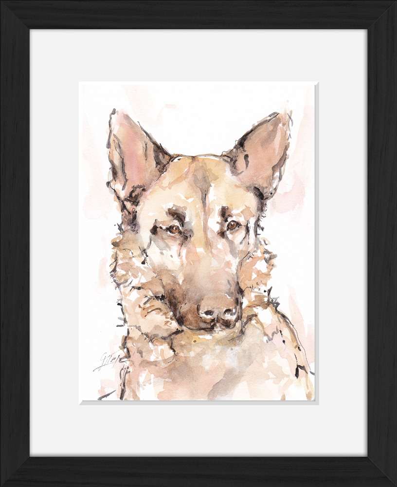 ART animals German shepherd dog: animal watercolor painting