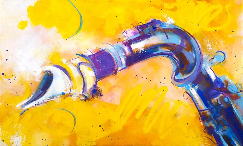 art peinture musique : la vitalité du saxophone - instrument de musique - Lucie LLONG