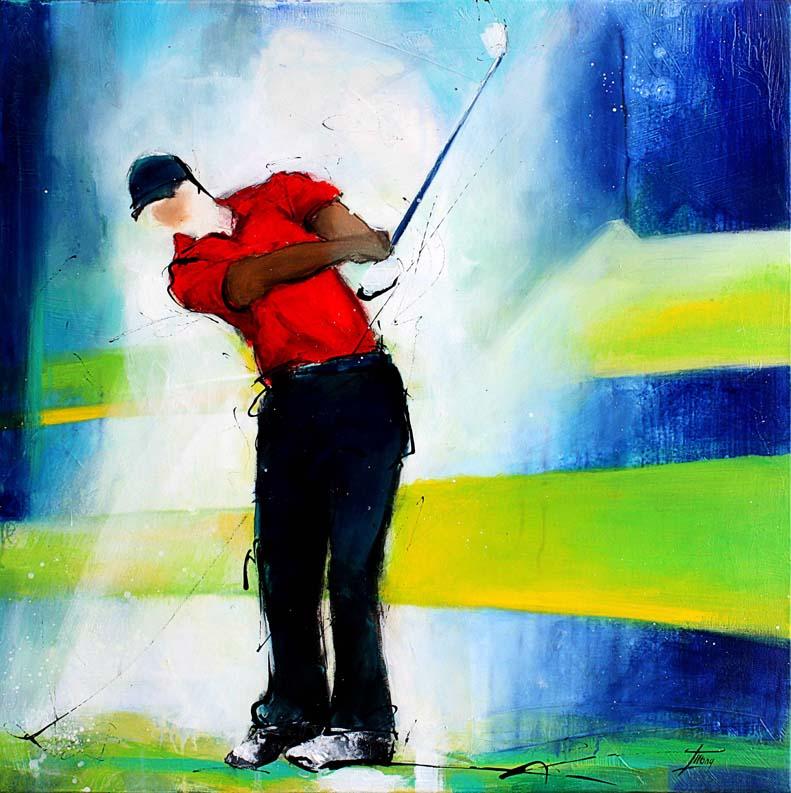 Art - peinture de sport - Golf - Ressenti le green