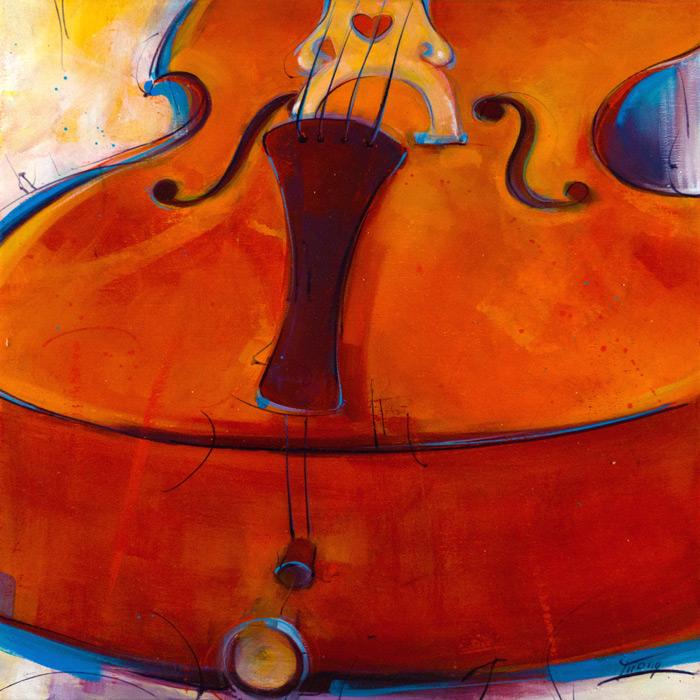 Tableau musique | instrument de musique | violoncelle en peinture par Lucie LLONG