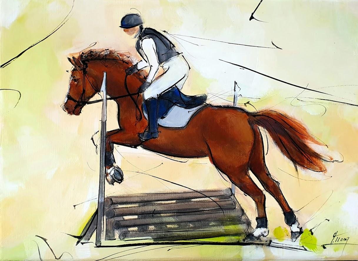 Tableau d'équitation | peinture d'un cheval de sport | Cavalier à cheval | Cross