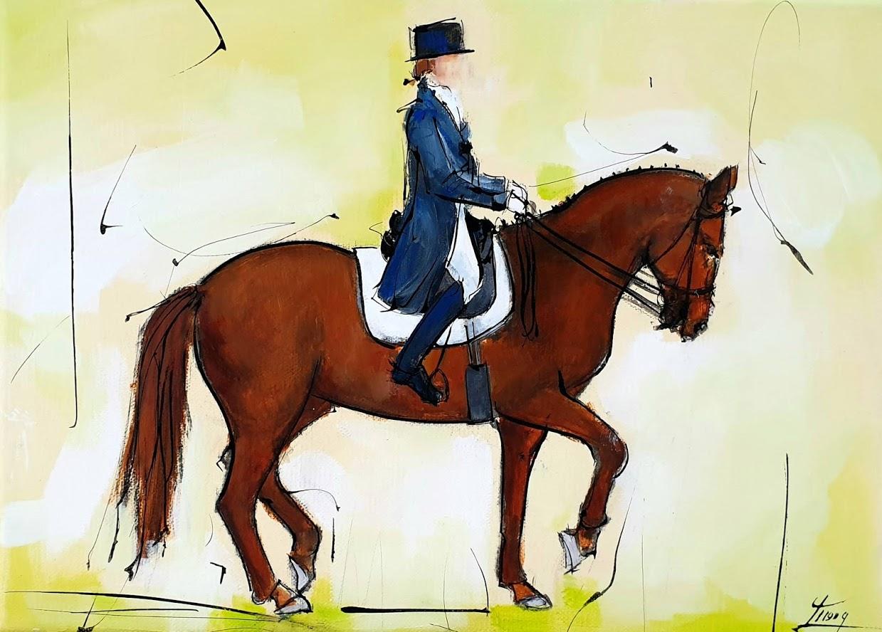 Tableau d'équitation | peinture d'un cheval de sport | Cavalier à cheval | Dressage