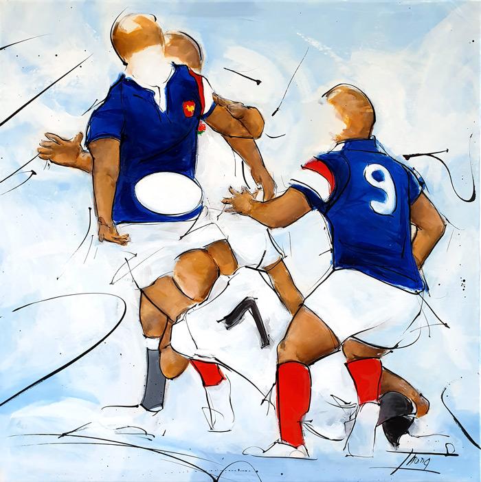 Peinture de sport | match de rugby entre le XV de France et l'Angleterre à Twickenham | Tableau par Lucie LLONG, artiste peintre