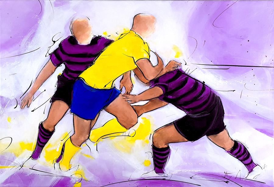 Peinture de rugby | USI vs ASM | Challenge auvergne d'Issoire par Lucie LLONG
