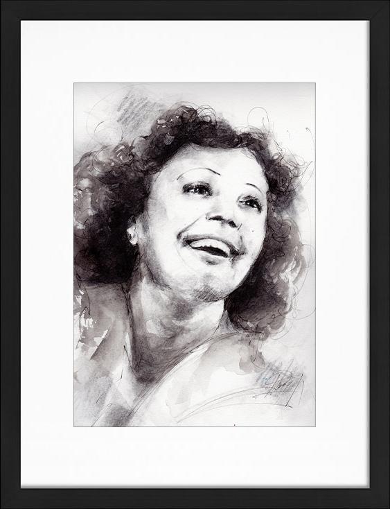 Peinture à l'aquarelle et encre d'Edith Piaf | Lucie LLONG | artiste peintre du mouvement | série portrait | personnalité de la chanson en peinture