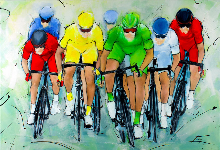 Cycling painting   Final sprint with yellow and green jersey   Tour de France   Sports Painting by Lucie LLONG, artist of movement