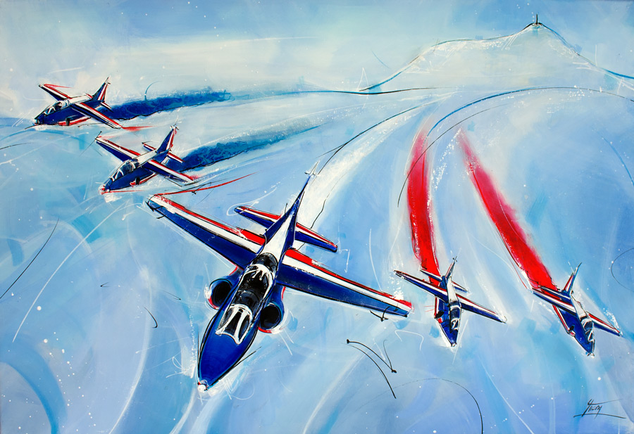The patrouille de France Painting above the volcanoes of Auvergne - air sports Festival - Sports painting - Aeronautism by Lucie LLONG