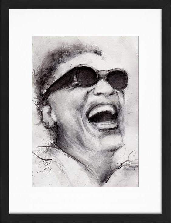 Peinture à l'aquarelle et encre de Ray Charles | Lucie LLONG | artiste peintre du mouvement | série portrait | personnalité de la chanson en peinture