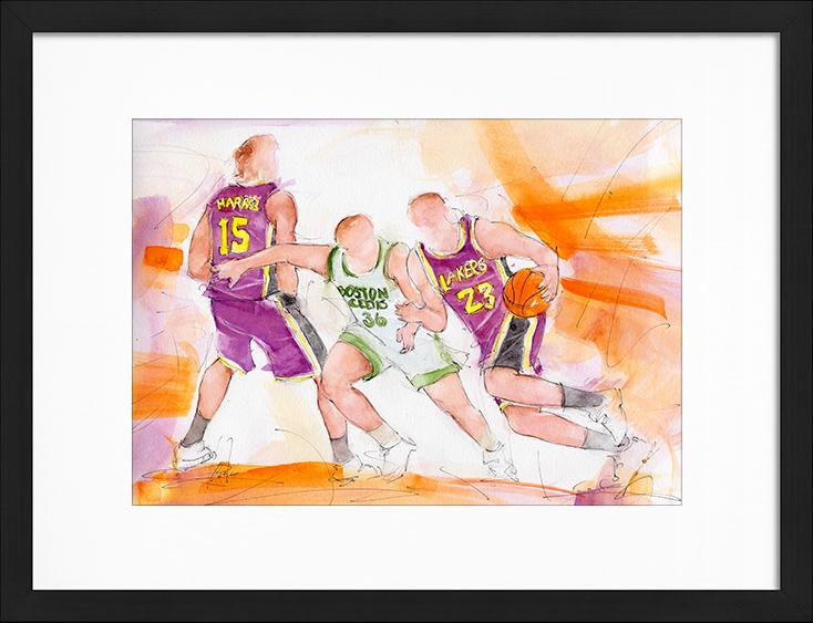 Peinture à l'aquarelle   Série Sport USA - Le basketball   Les celtics de Boston vs les lakers de Lebron James   Tableau de sport par Lucie LLONG, artiste peintre du mouvement