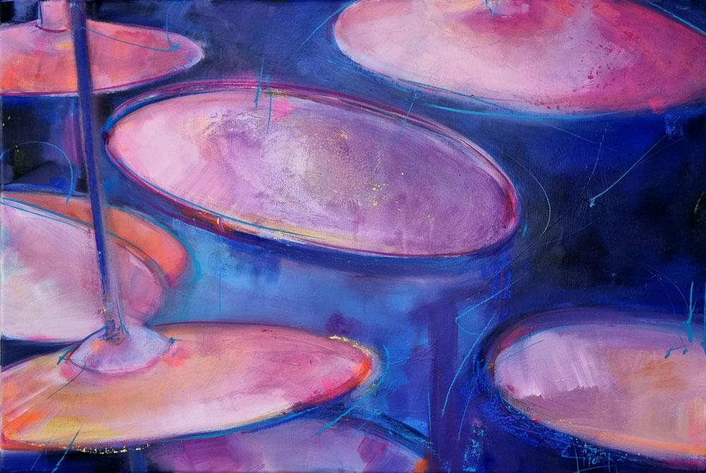 Tableau musique - Instrument de musique - Batterie - Peinture par Lucie LLONG, artiste peintre du mouvement