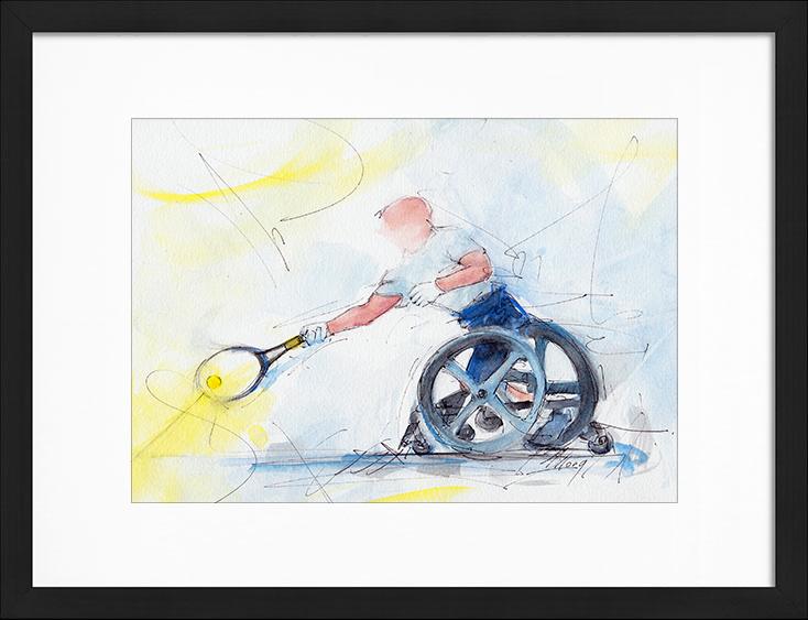 Peinture aquarelle de tennis - Stéphane Houdet, champion paralympique - Tableau de sport