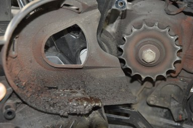 Front sprocket cover removed