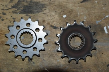 New and old front sprocket