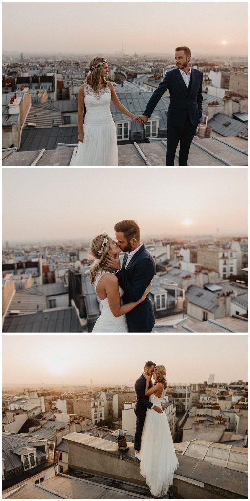 photographe mariage paris  issing in the sunset rooftop paris