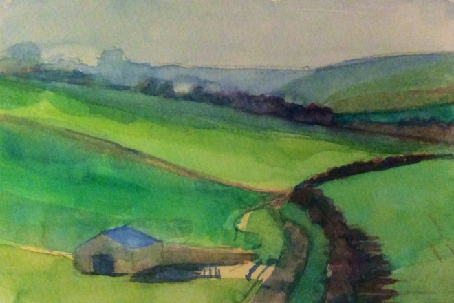 Towards Maiden Bradley, Watercolour, 15x 11cm
