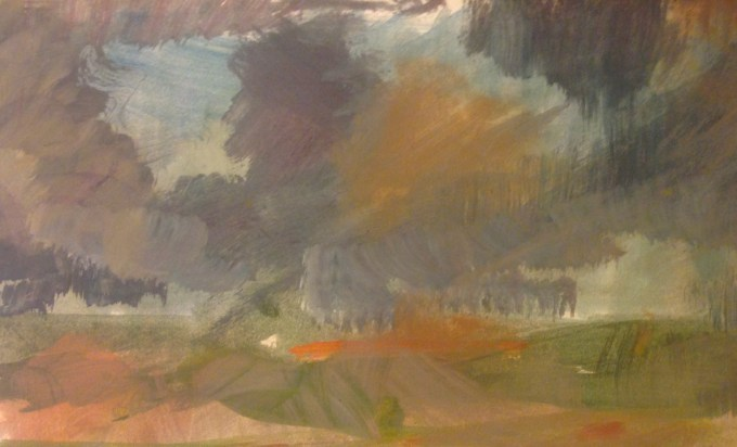 Clouds over Hatch, oil on Paper, 15 x11cm