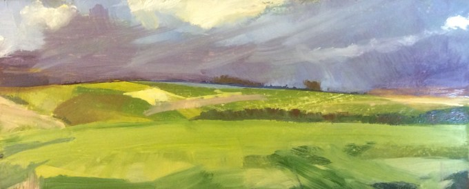 Clouds over Deverills, oil on board 10 x 23.5 cm