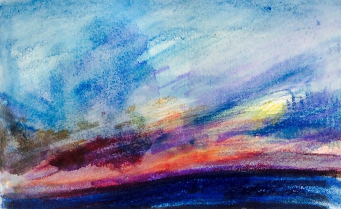 Spring Sunset, watercolour, 11 x5 cm