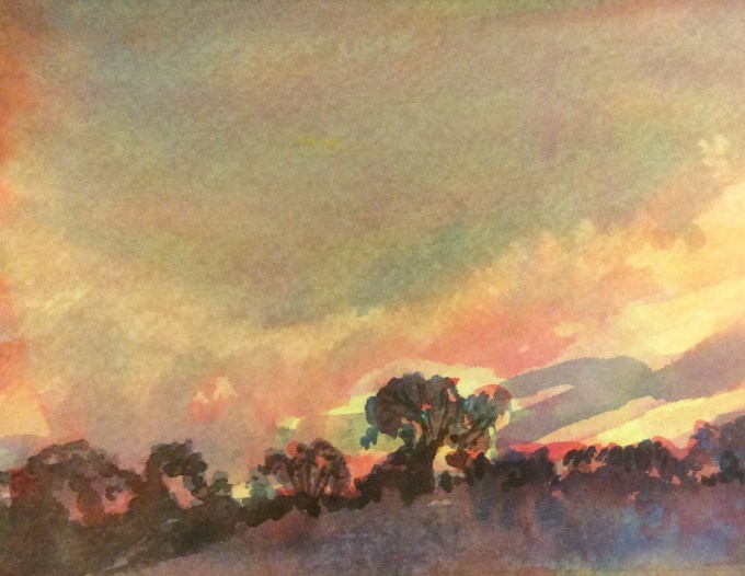 Spring Sunset, Watercolour, 15 x 11 cm