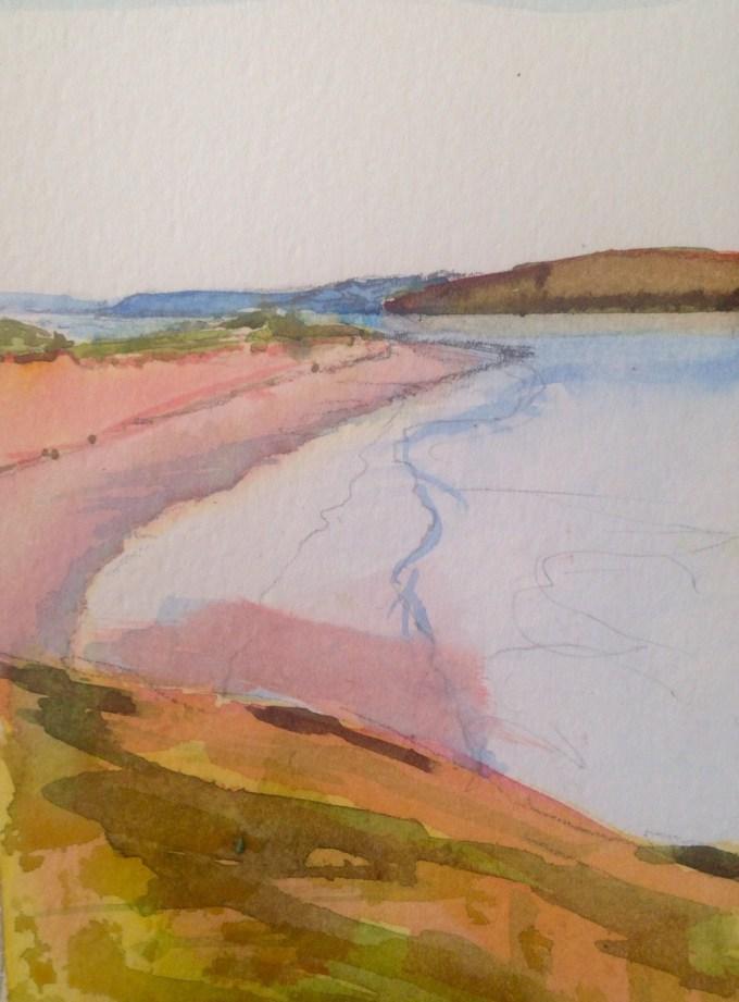 Walking back from Rock, watercolour, 9x12 cm