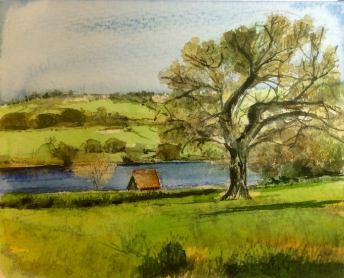 BBlagdon Lake, Yeo Valley, Watercolour, 15 X11 cm