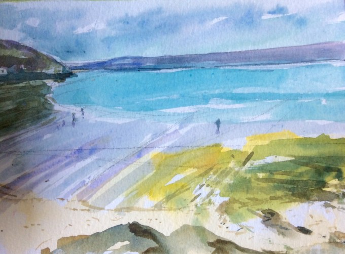 Daymer Bay, Easter, Watercolour, 18x 15 cm