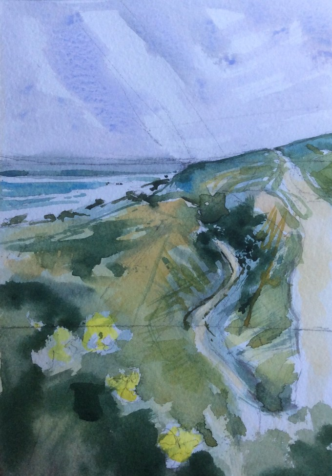Path to Gully, watercolour, 18 x15 cm