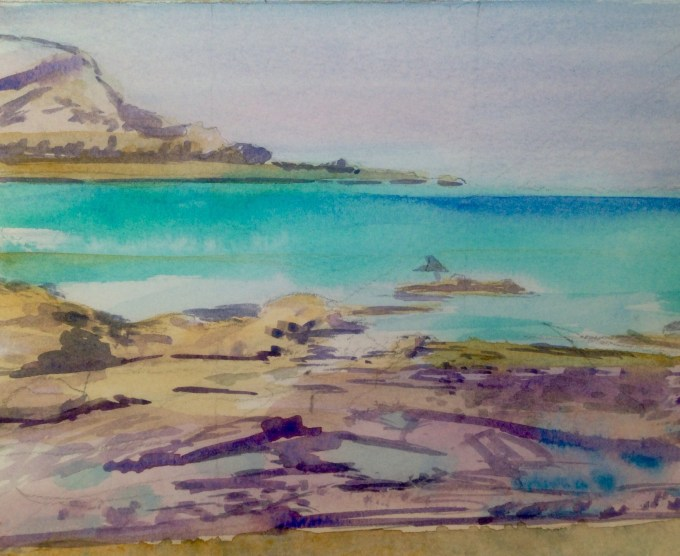 Gully, Low Tide, Watercolour, 18 x15 cm