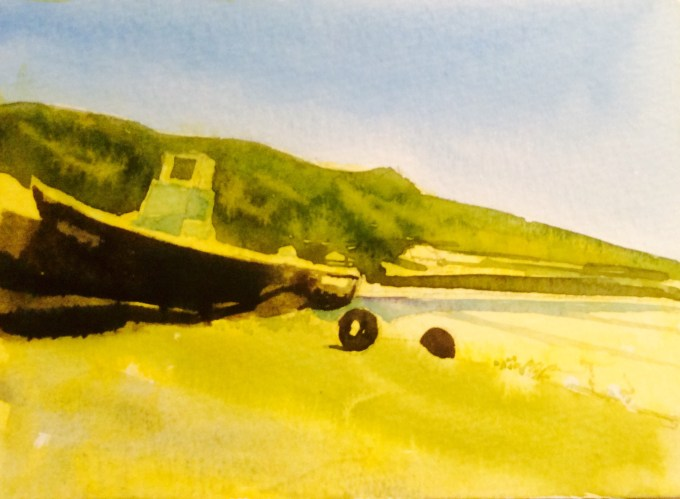 Sunshine at St Ouen, Jersey, watercolour, 15 x 12 cm
