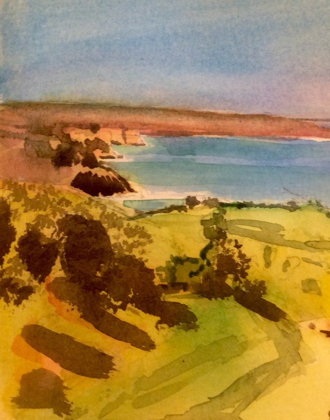 Above Devil's Hole, Jersey, watercolour, 15 x 12 cm