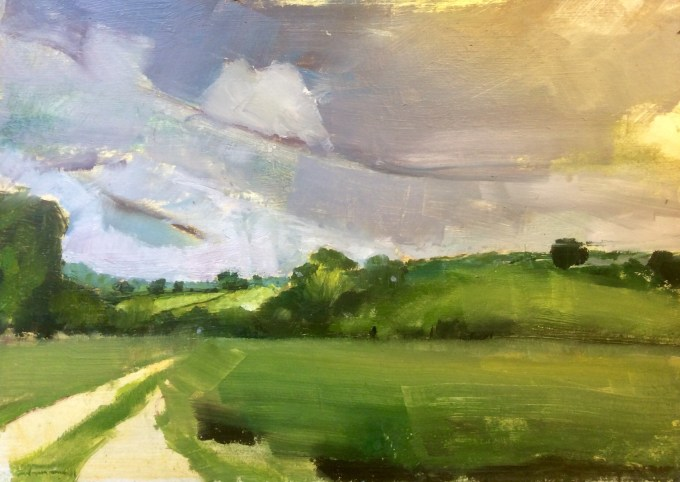 West over Farm, oil on board.