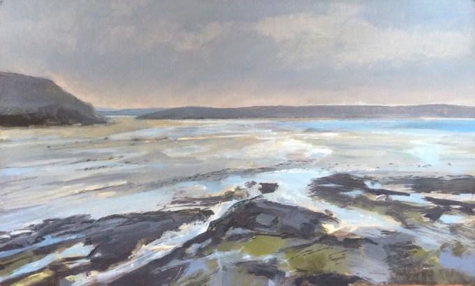 Daymer Bay, Tide Out, Oil on Board, 33 x 20 cm.