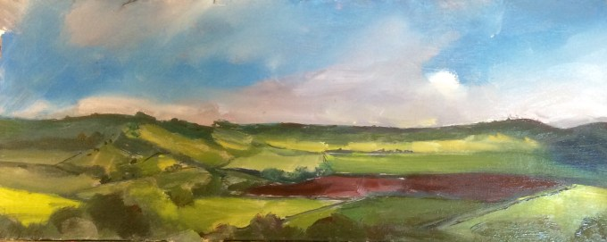 View from Cadbury Hill, Oil on Board,, 22 x10 cm