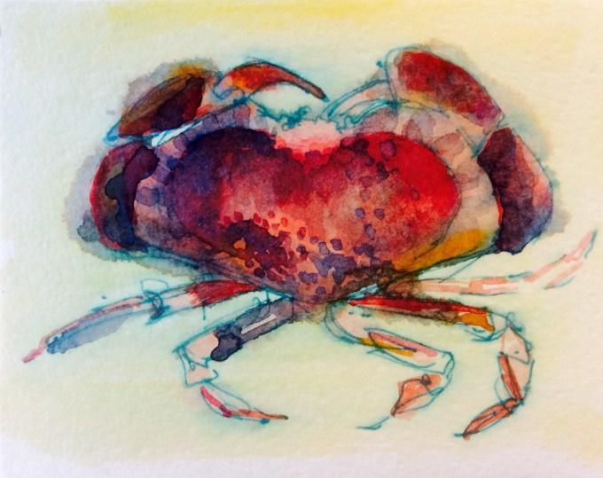 Crab, Watercolour, 12 x 15 cm