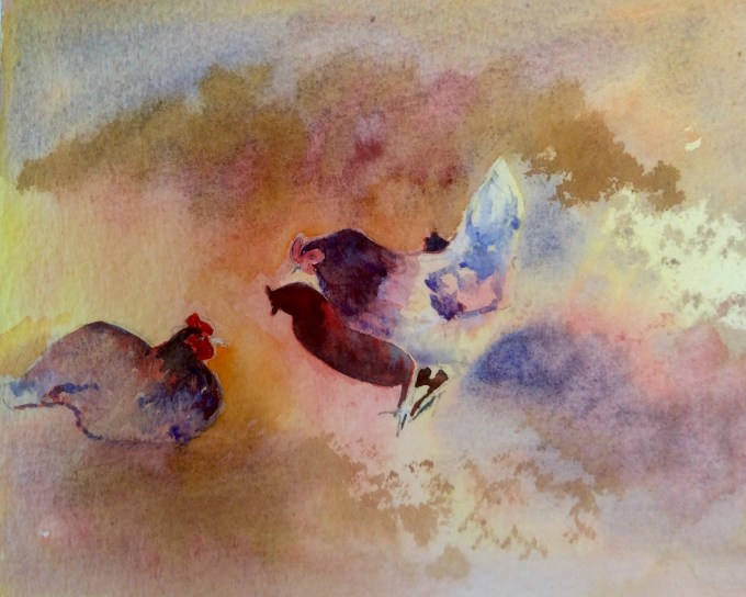 Chickens in Conversation, Watercolour, 15 X11 cm