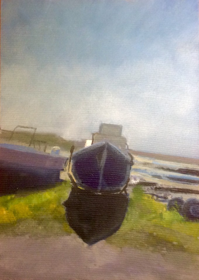 Boats at St Ouen, Jersey, Oil on Board, 12 x 18 cm