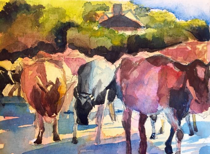 Cows passing, Watercolour 12 x18cm