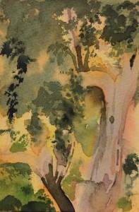 Olive Grove, Paxos, Watercolour, 12 x 5cm