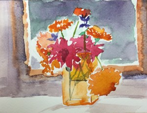 Summer Bouquet, Watercolour, 12 x 5cm