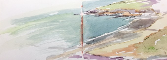 Estuary, Daymer Bay, Watercolour, 40 x 11 cm