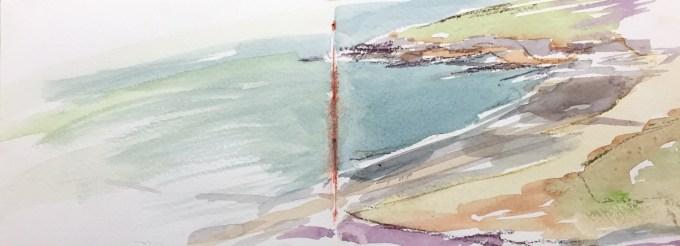 Estuary, Daymer Bay, Watercolour, 40 x 11 cm