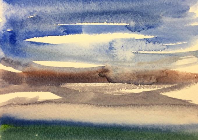 Cornish Sky, Watercolour, 11 x5 cm