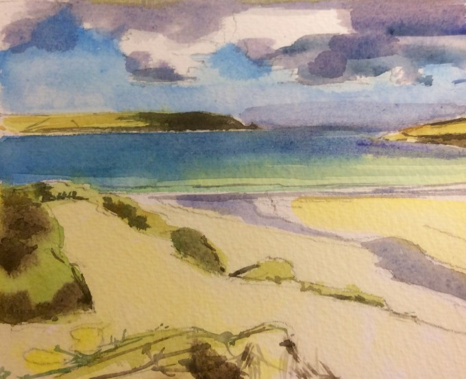 Clouds Above Dunes, Daymer Bay, Watercolour, 15 x 11 cm
