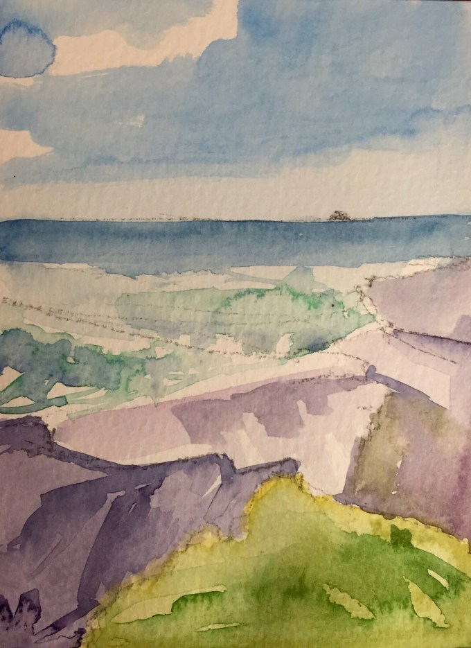 Surf at Little Daymer, watercolour, 15 x 12 cm