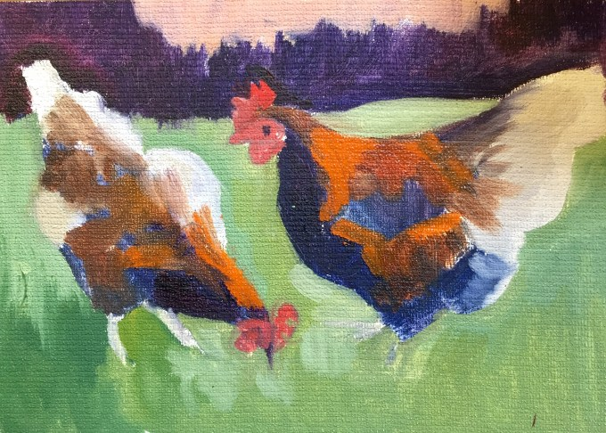 Chicken Study, oil sketch on Board, 12 x 17 cm