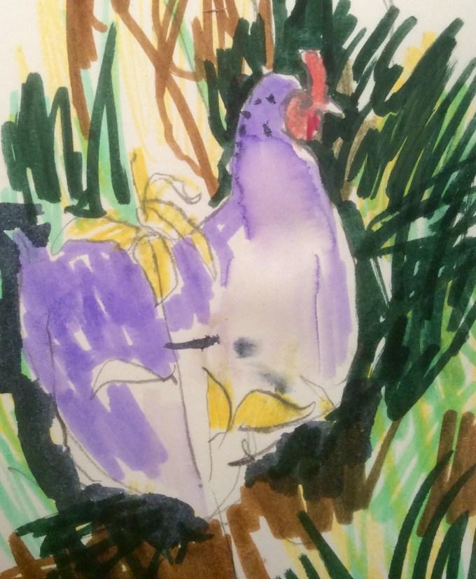 Hen, September, Watercolour, 12 x 5 cm