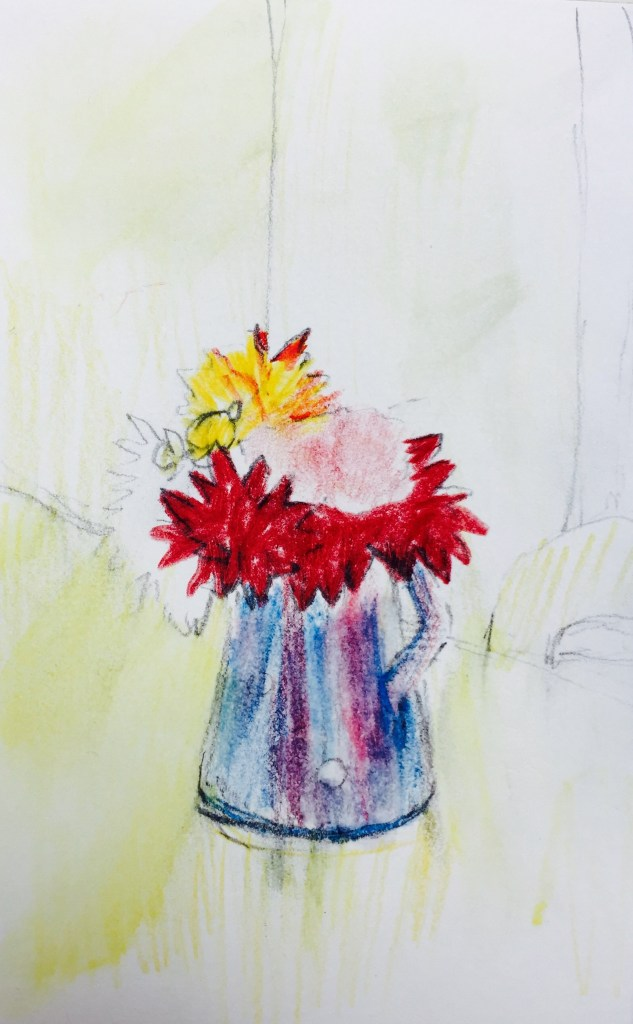 September Dahlias, Watercolour, 12 x5 cm