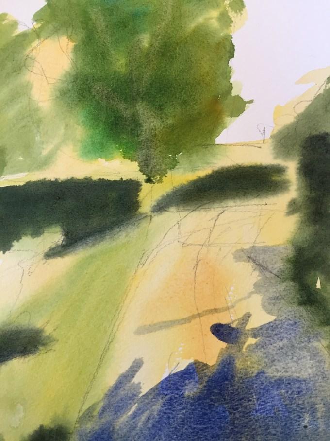 Morning Walk, Watercolour, 22.5 x 17.5 cm