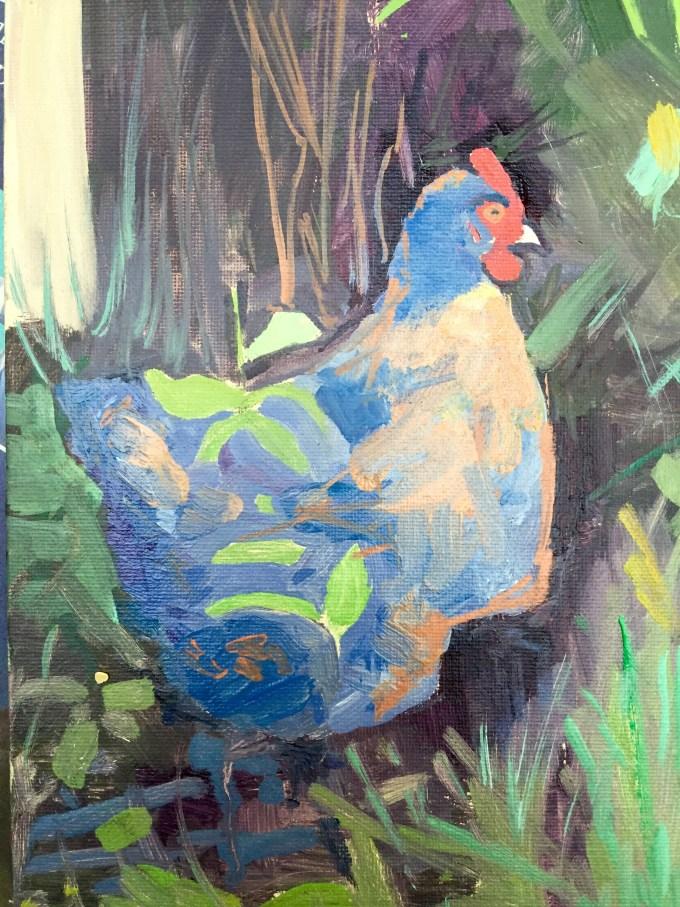 Pensive Hen, Oil on Board, 18x 25 cm